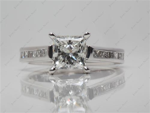 White Gold 1.24 Princess cut Channel Set Engagement Ring