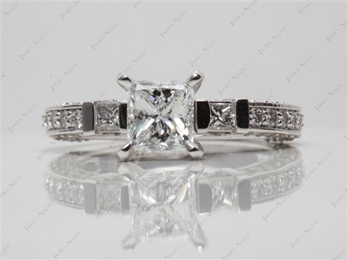 Platinum 1.00 Princess cut Pave Diamond Engagement Rings