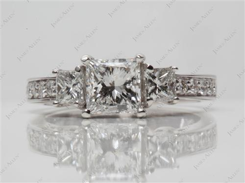 White Gold 1.00 Princess cut Three Stones Diamond Rings
