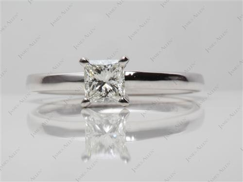 White Gold 0.50 Princess cut Round Solitaire Ring