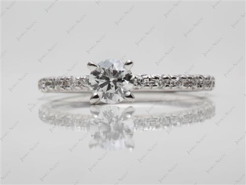 White Gold 0.36 Round cut Pave Rings