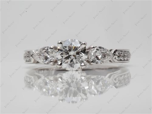 White Gold  Three Stones Rings