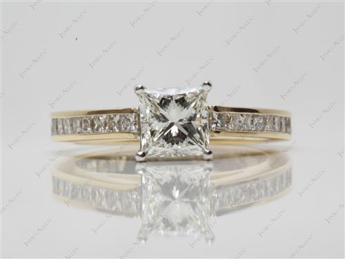 Gold 1.09 Princess cut Channel Setting Engagement Rings