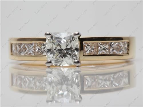 Gold 1.07 Cushion cut Channel Set Diamond Band