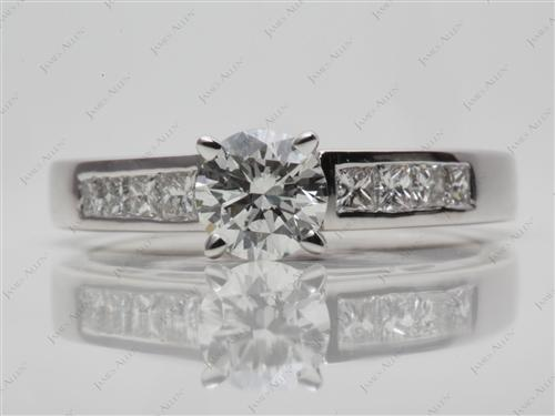White Gold 0.70 Round cut Channel Setting Engagement Rings