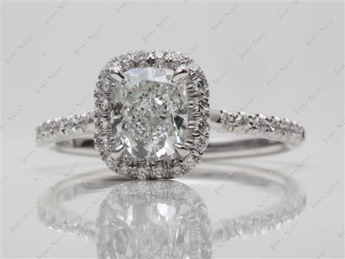 White Gold 1.30 Cushion cut Pave Diamond Ring