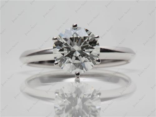 White Gold 1.40 Round cut Solitaire Rings