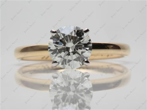 Gold 1.36 Round cut Engagement Ring