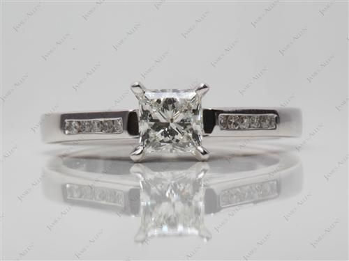 White Gold 0.73 Princess cut Channel Set Rings