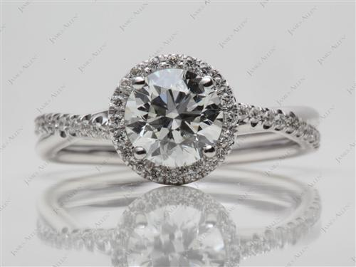 White Gold 1.31 Round cut Diamond Pave Ring