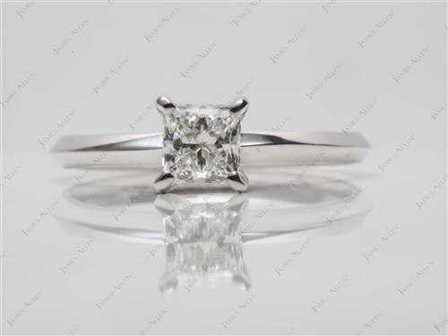 White Gold 0.63 Princess cut Solitaire Diamond Rings