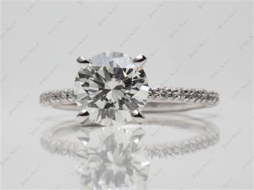 Platinum 1.75 Round cut Pave Diamond Rings