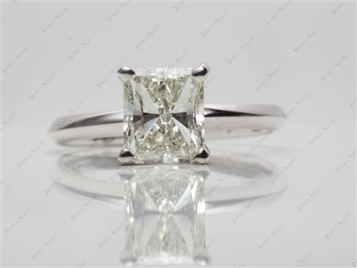 White Gold 1.50 Radiant cut Solitaire Ring Settings
