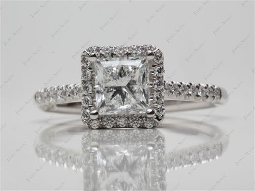 Platinum 1.16 Princess cut Pave Ring Setting