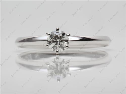 White Gold 0.30 Round cut Diamond Ring