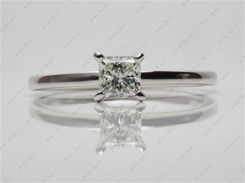 Platinum 0.51 Princess cut Diamond Solitaire Ring Settings