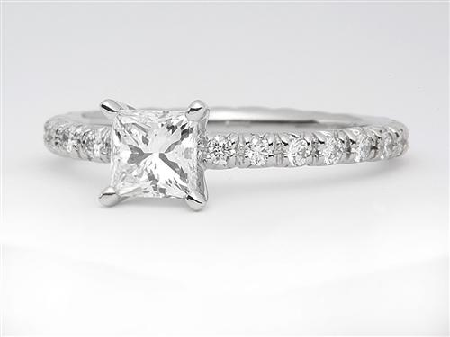 Platinum 0.70 Princess cut Pave Diamond Ring