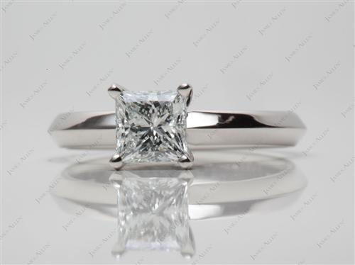 Platinum 0.83 Princess cut Diamond Engagement Solitaire Rings