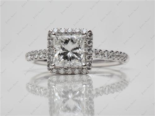 White Gold 1.01 Princess cut Pave Rings