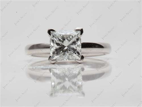 Platinum 1.32 Princess cut Diamond Ring