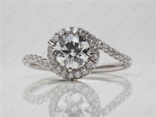 Platinum 0.79 Round cut Micro Pave Rings