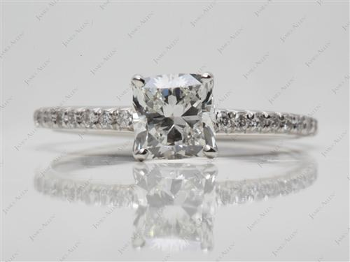 Platinum 1.26 Cushion cut Pave Engagement Ring