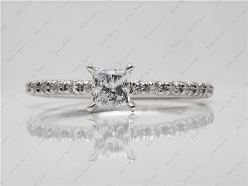 White Gold 0.43 Princess cut Pave Engagement Rings