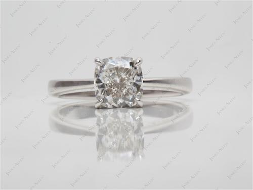 White Gold 1.70 Cushion cut Round Solitaire Ring