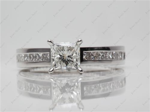 White Gold 0.89 Princess cut Channel Set Diamond Rings