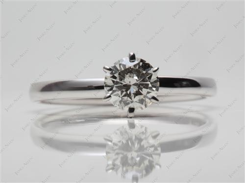 White Gold 0.76 Round cut Diamond Engagement Solitaire Rings