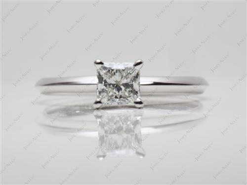 White Gold 0.71 Princess cut Diamond Solitaire Engagement Ring
