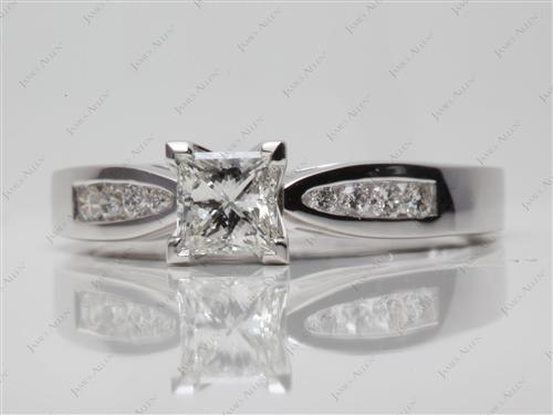White Gold 0.51 Princess cut Channel Setting Engagement Ring