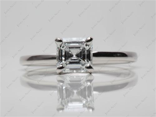 Platinum 0.82 Asscher cut Diamond Ring