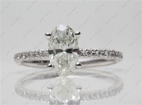 White Gold 1.03 Oval cut Pave Diamond Ring