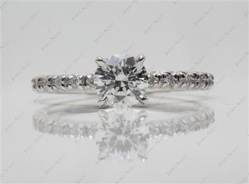 White Gold 0.51 Round cut Engagement Ring Micro Pave