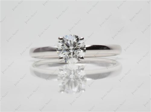 White Gold 0.80 Round cut Solitaire Diamond Rings