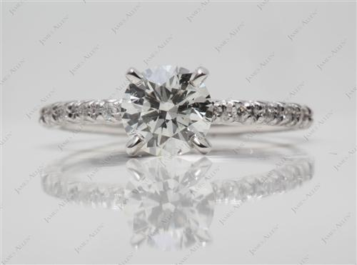 White Gold 0.84 Round cut Pave Diamond Engagement Ring