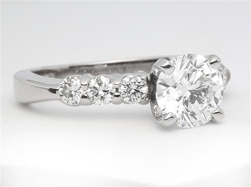 Platinum 1.20 Round cut Diamond Ring With Sidestones