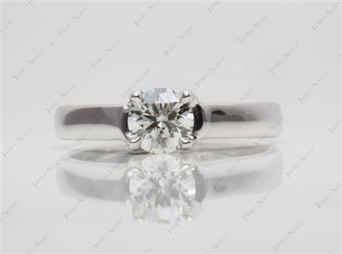 White Gold 0.64 Round cut Solitaire Engagement Rings