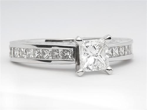 White Gold 0.65 Princess cut White Gold Wedding Sets