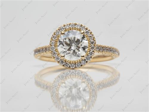Gold 0.96 Round cut Diamond Ring