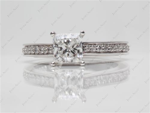 White Gold 0.80 Princess cut Diamond Ring