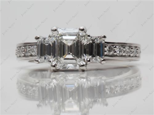 Platinum  Three Stones Diamonds Rings