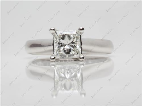 Platinum 1.20 Princess cut Solitaire Rings