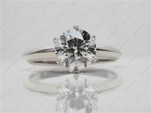 Platinum 1.30 Round cut Diamond Solitaire Engagement Ring