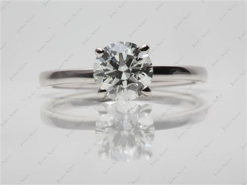 Platinum 0.93 Round cut Solitaire Engagement Ring