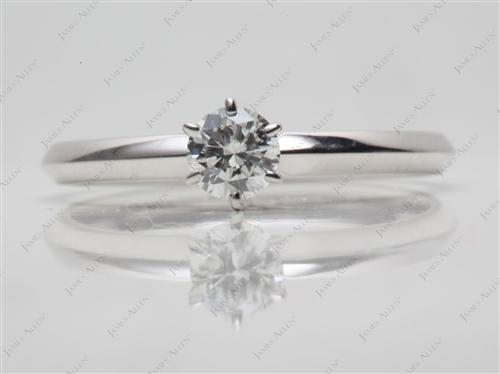 White Gold 0.30 Round cut Solitaire Engagement Ring