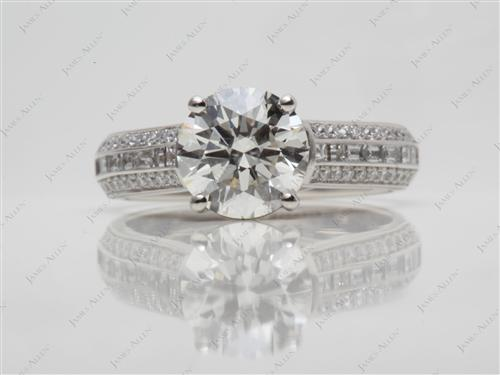 Platinum 2.00 Round cut Diamond Pave Rings