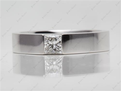 White Gold 0.71 Princess cut Diamond Ring