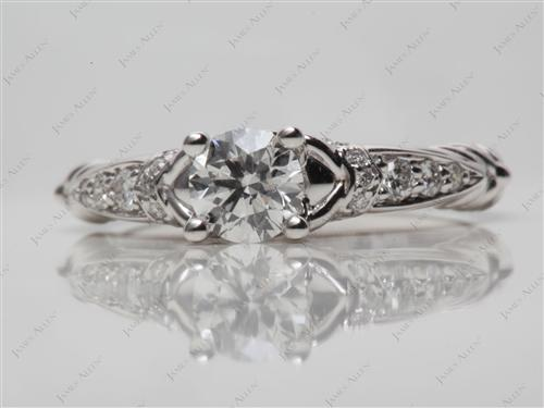White Gold 0.50 Round cut Engagement Rings Pave